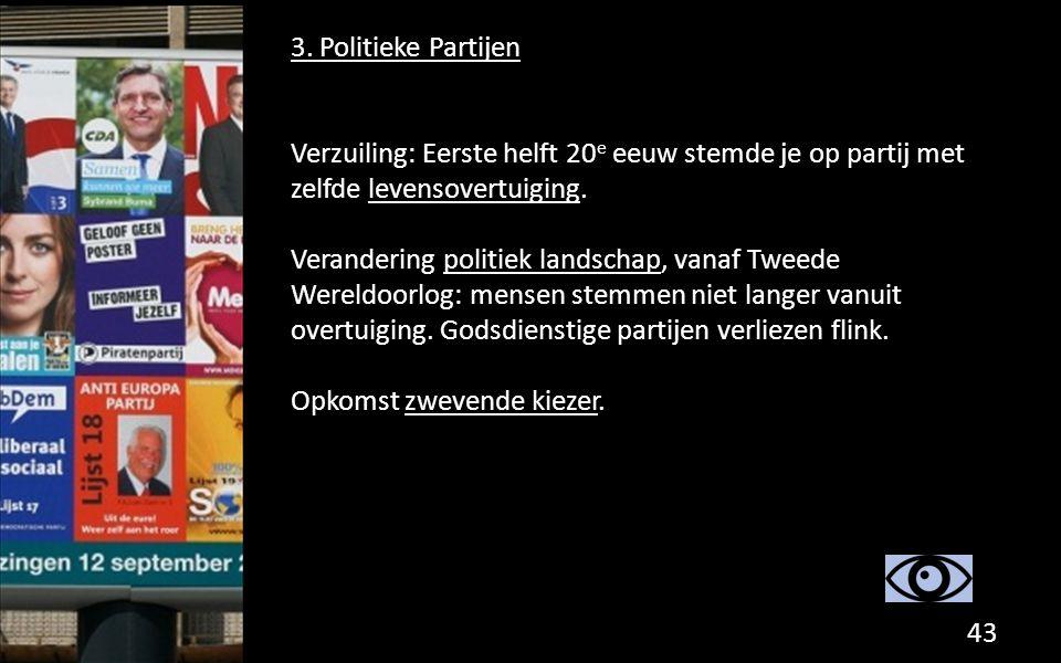 3. Politieke Partijen Verzuiling: Eerste helft 20e eeuw stemde je op partij met zelfde levensovertuiging.