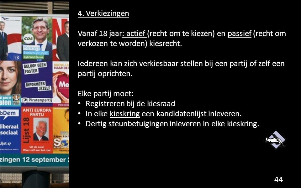 4. Verkiezingen Vanaf 18 jaar: actief (recht om te kiezen) en passief (recht om verkozen te worden) kiesrecht.
