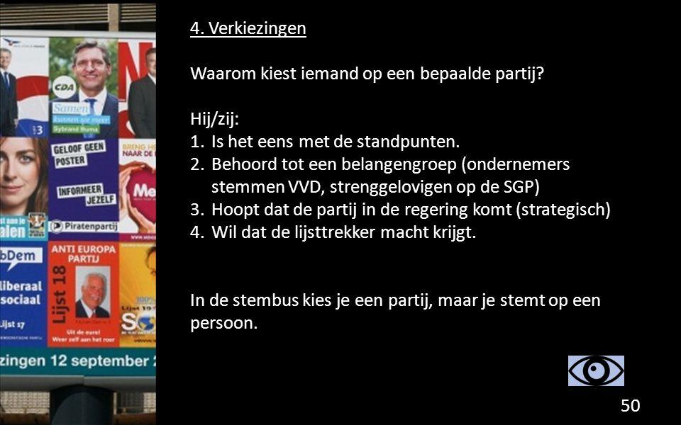 4. Verkiezingen Waarom kiest iemand op een bepaalde partij Hij/zij: Is het eens met de standpunten.