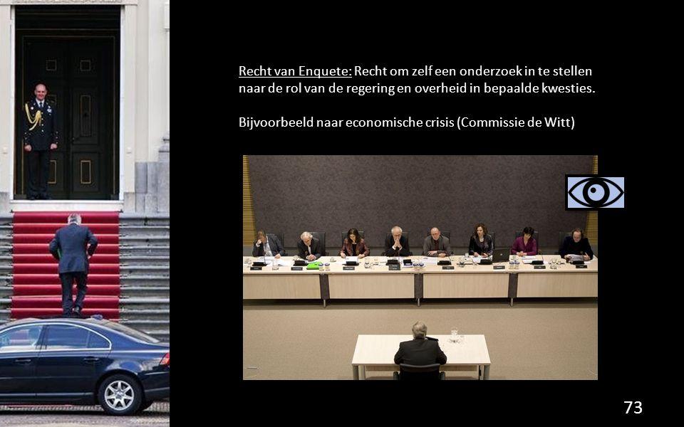 Recht van Enquete: Recht om zelf een onderzoek in te stellen naar de rol van de regering en overheid in bepaalde kwesties.