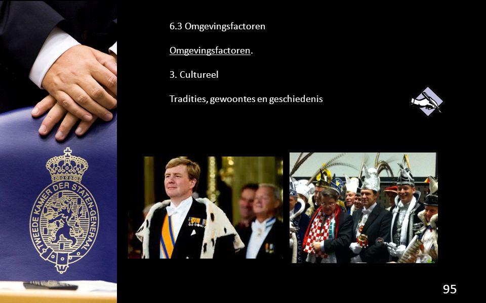 6.3 Omgevingsfactoren Omgevingsfactoren. 3. Cultureel Tradities, gewoontes en geschiedenis