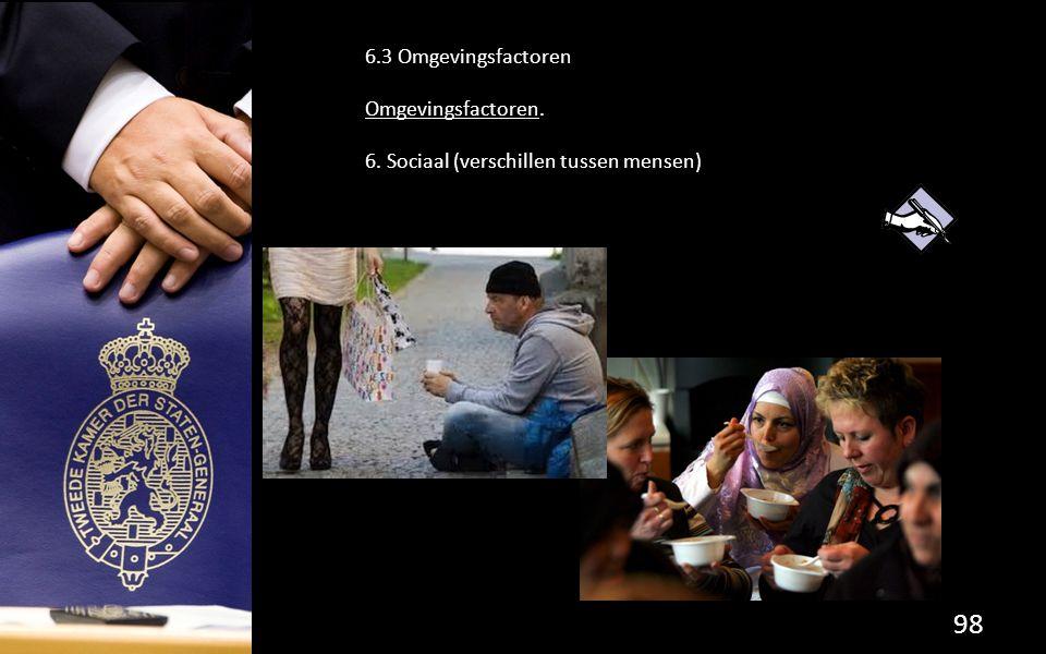 6.3 Omgevingsfactoren Omgevingsfactoren. 6. Sociaal (verschillen tussen mensen)