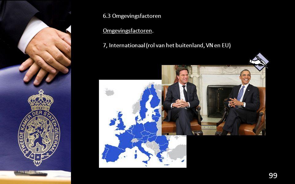 6.3 Omgevingsfactoren Omgevingsfactoren. 7, Internationaal (rol van het buitenland, VN en EU)