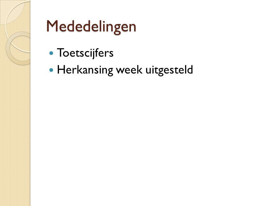 Mededelingen Toetscijfers Herkansing week uitgesteld