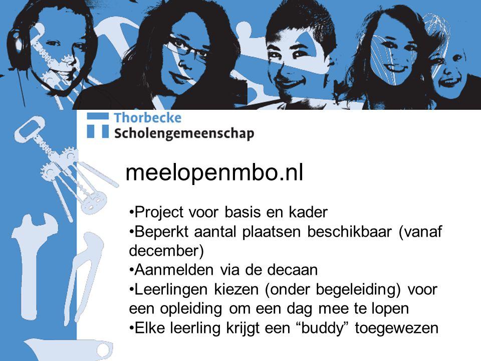 meelopenmbo.nl Project voor basis en kader