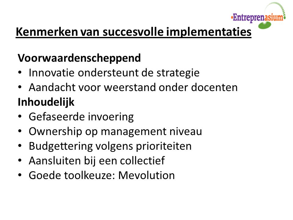 Kenmerken van succesvolle implementaties