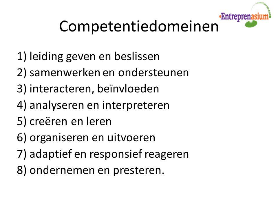 Competentiedomeinen 1) leiding geven en beslissen