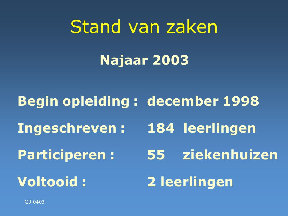 Stand van zaken Najaar 2003 Begin opleiding : december 1998