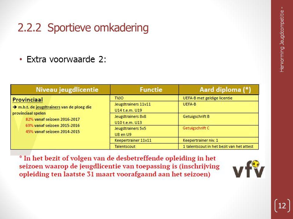 2.2.2 Sportieve omkadering Extra voorwaarde 2: