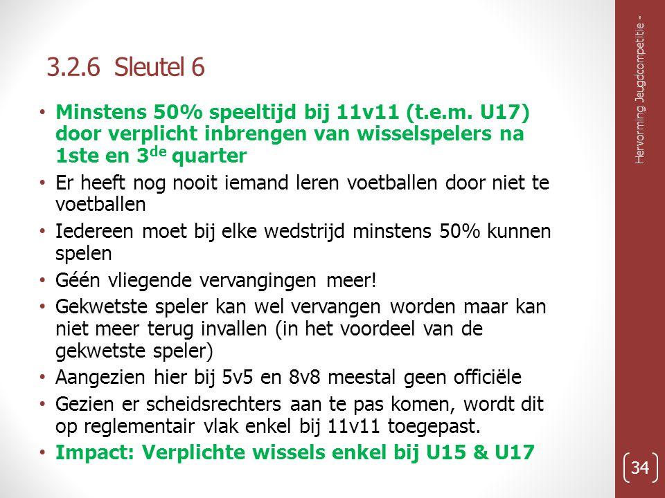 3.2.6 Sleutel 6 Minstens 50% speeltijd bij 11v11 (t.e.m. U17) door verplicht inbrengen van wisselspelers na 1ste en 3de quarter.