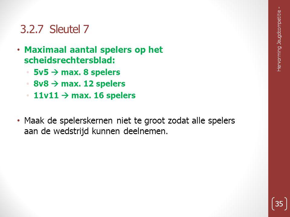 3.2.7 Sleutel 7 Maximaal aantal spelers op het scheidsrechtersblad: