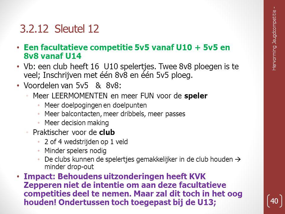3.2.12 Sleutel 12 Een facultatieve competitie 5v5 vanaf U10 + 5v5 en 8v8 vanaf U14.