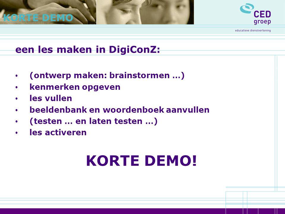 KORTE DEMO! KORTE DEMO een les maken in DigiConZ: