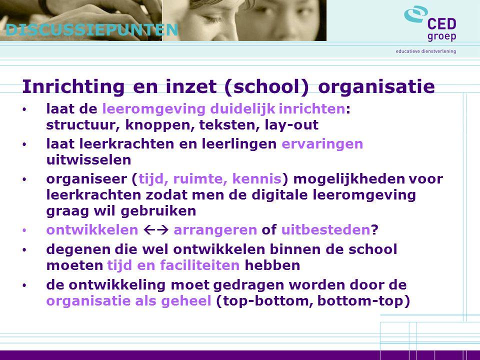 Inrichting en inzet (school) organisatie