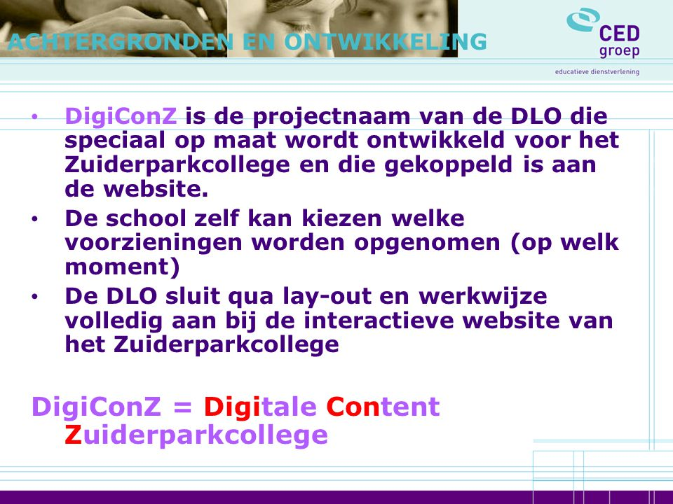DigiConZ = Digitale Content Zuiderparkcollege