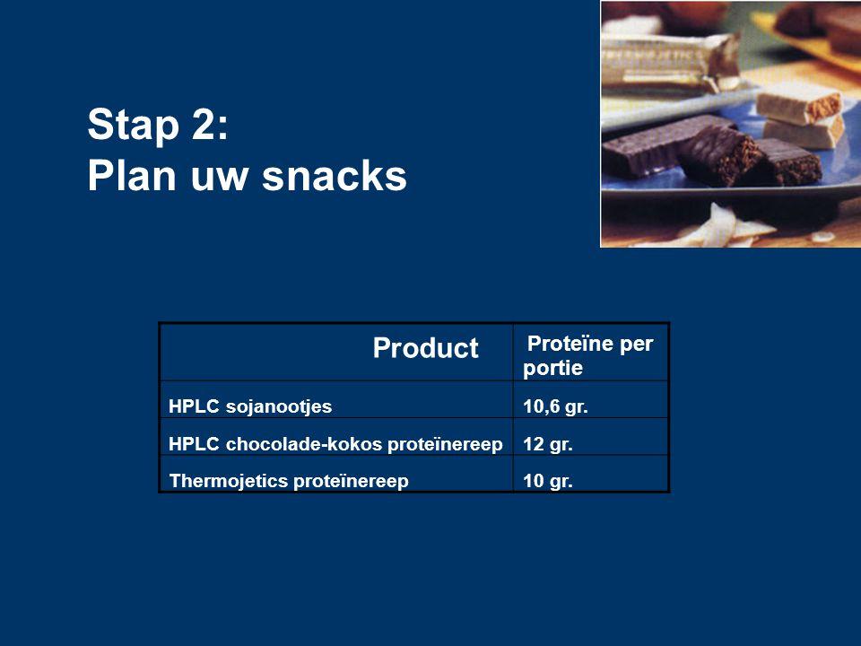 Stap 2: Plan uw snacks Product HPLC sojanootjes 10,6 gr.