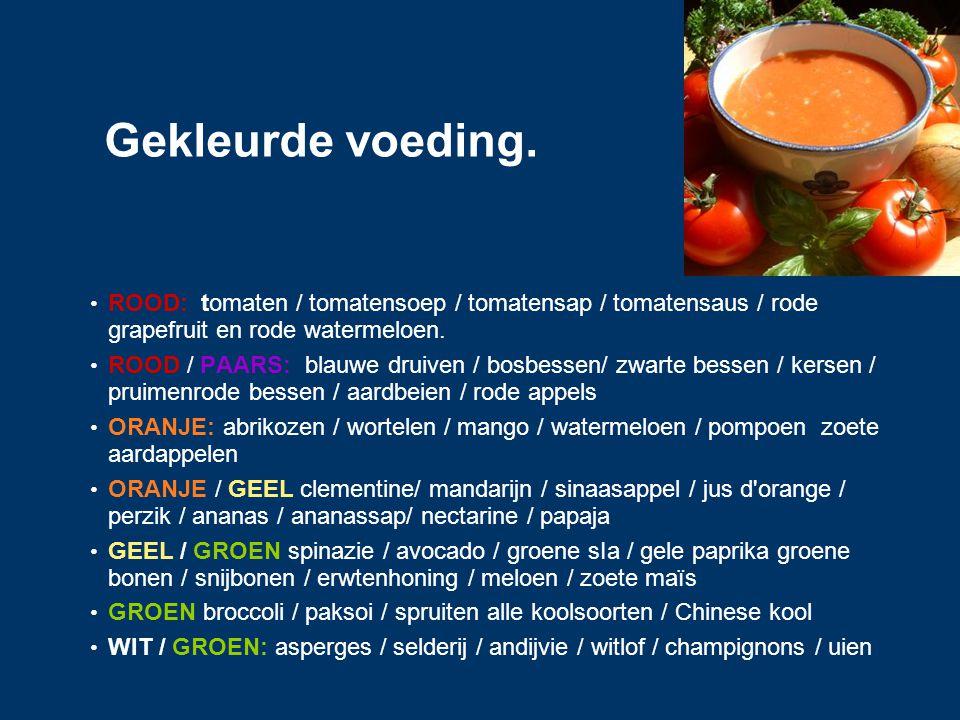 Gekleurde voeding. ROOD: tomaten / tomatensoep / tomatensap / tomatensaus / rode grapefruit en rode watermeloen.