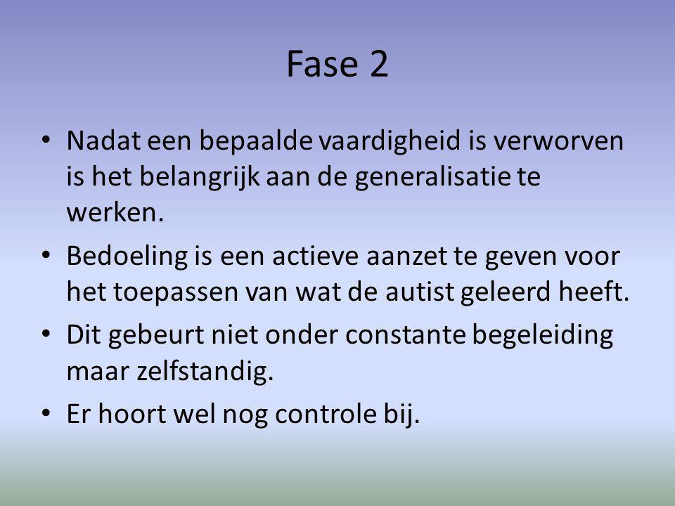 Fase 2 Nadat een bepaalde vaardigheid is verworven is het belangrijk aan de generalisatie te werken.