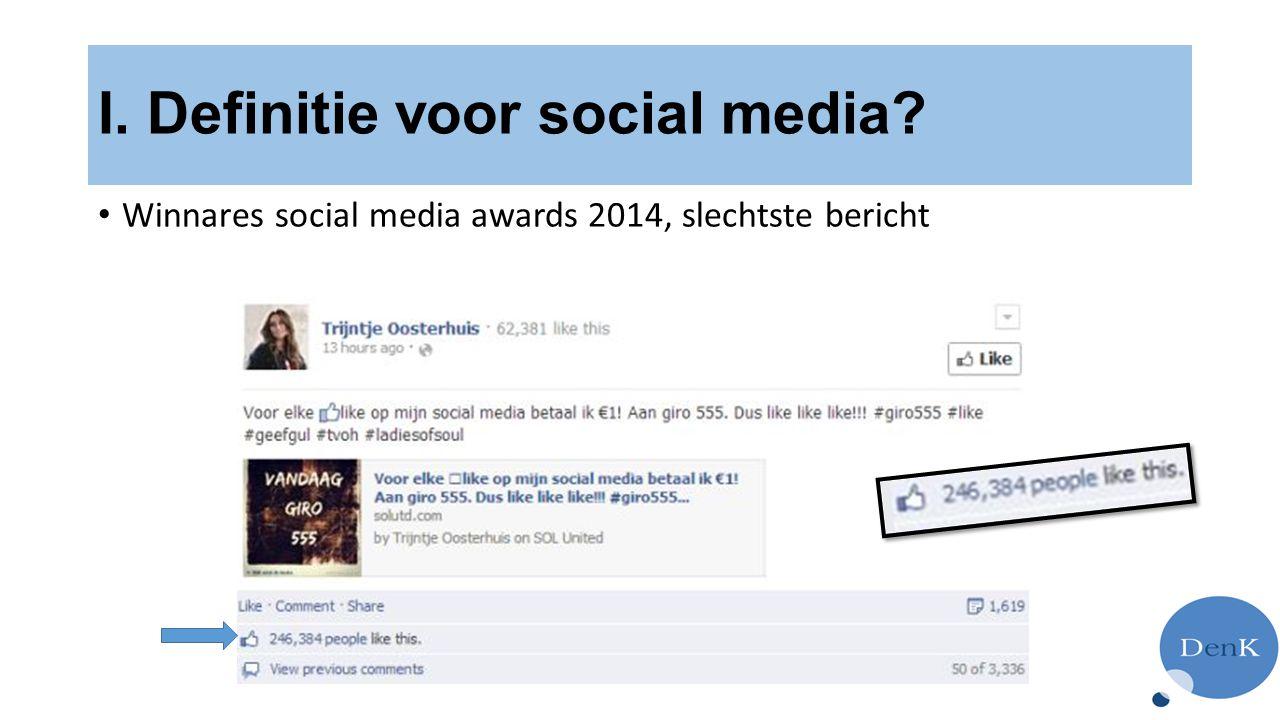 I. Definitie voor social media