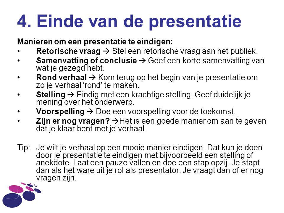 4. Einde van de presentatie
