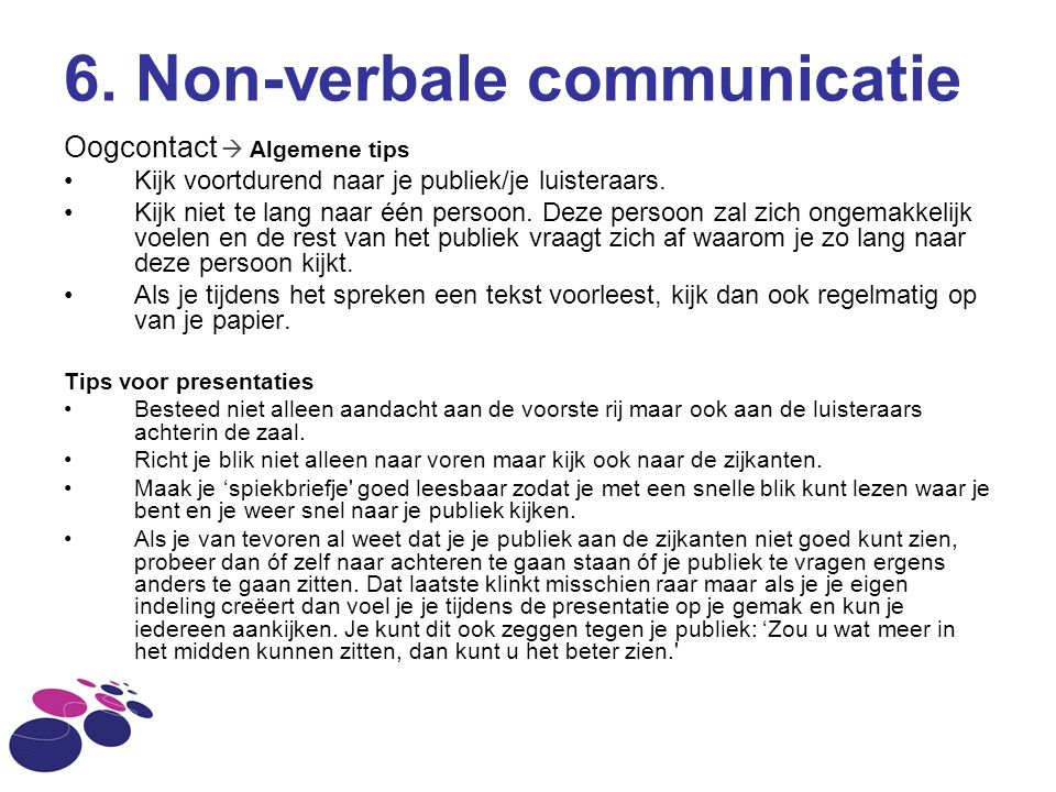 6. Non-verbale communicatie
