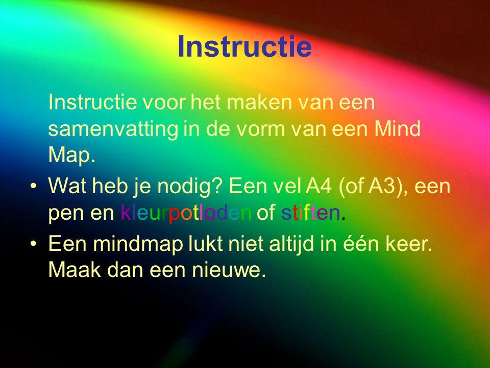 Instructie Instructie voor het maken van een samenvatting in de vorm van een Mind Map.