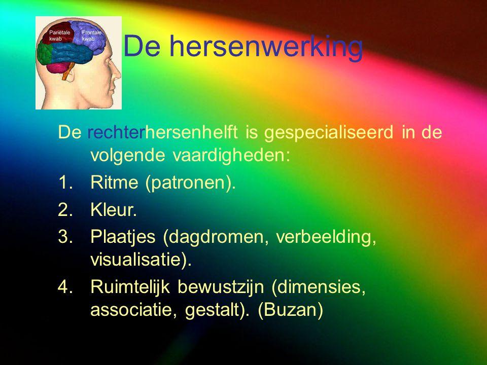 De hersenwerking De rechterhersenhelft is gespecialiseerd in de volgende vaardigheden: Ritme (patronen).