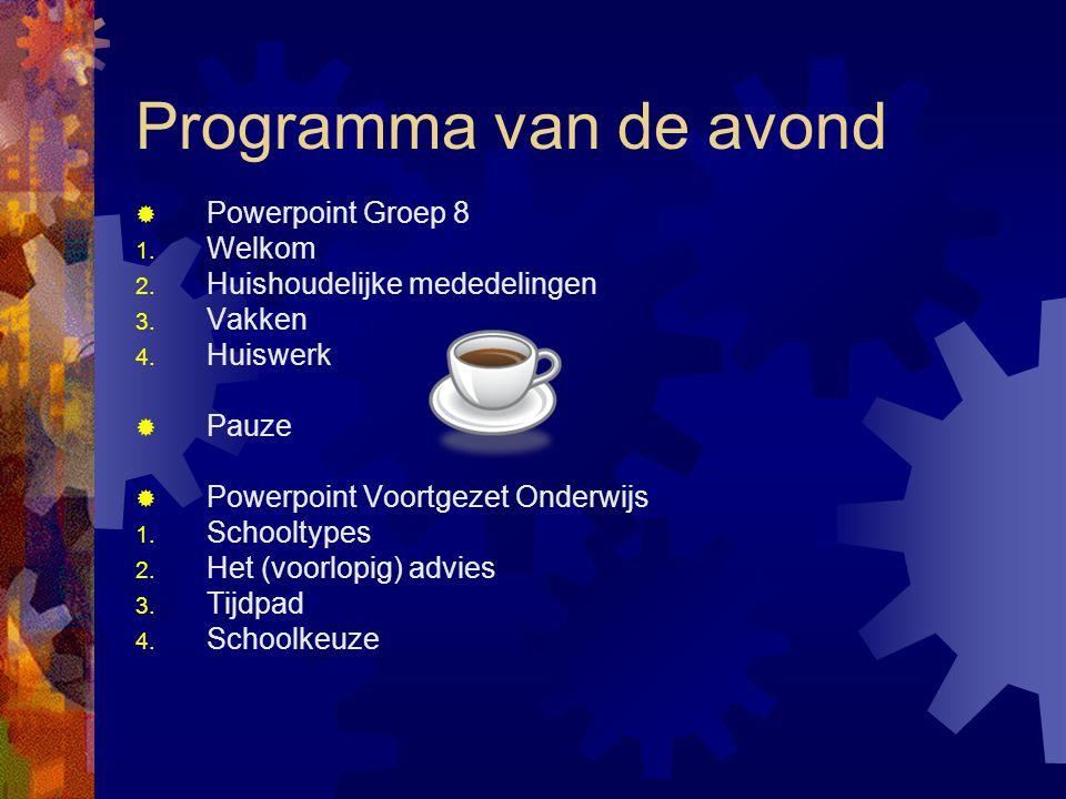 Programma van de avond Powerpoint Groep 8 Welkom