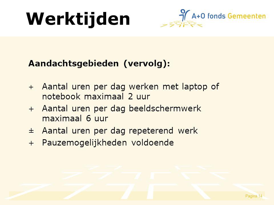 Werktijden Aandachtsgebieden (vervolg):