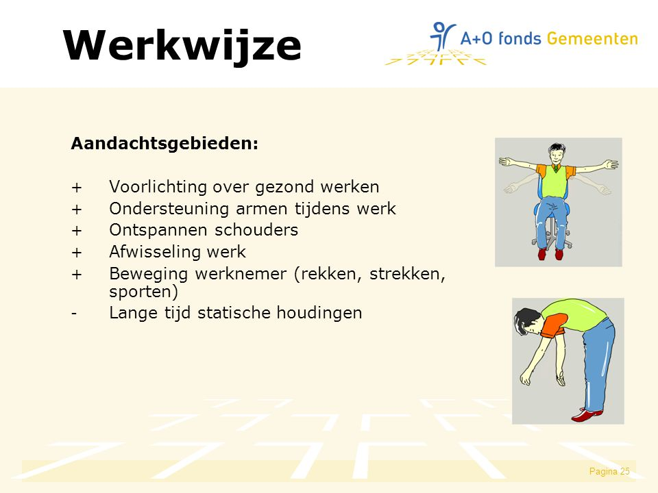 Werkwijze Aandachtsgebieden: Voorlichting over gezond werken