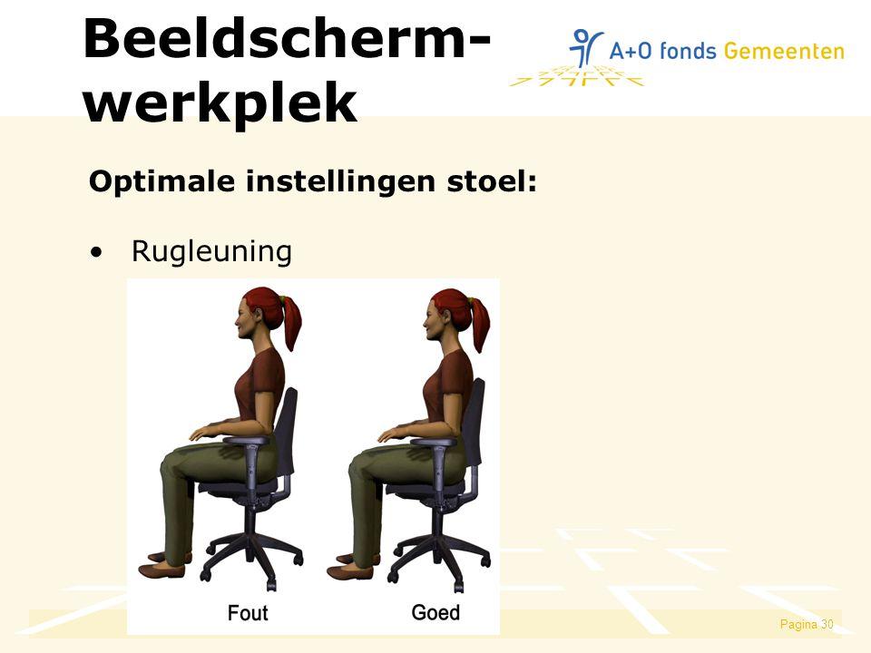 Beeldscherm- werkplek Optimale instellingen stoel: Rugleuning
