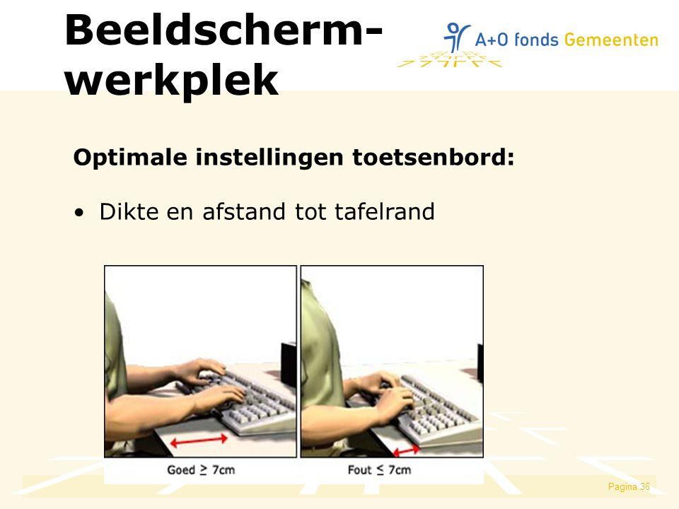 Beeldscherm- werkplek Optimale instellingen toetsenbord: