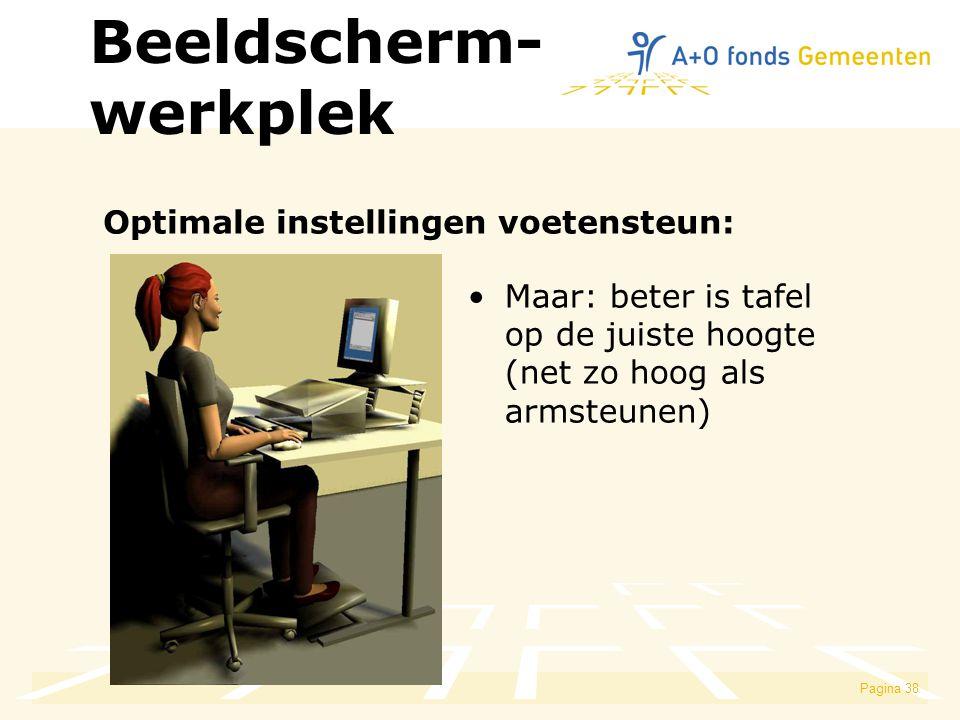 Beeldscherm- werkplek Optimale instellingen voetensteun:
