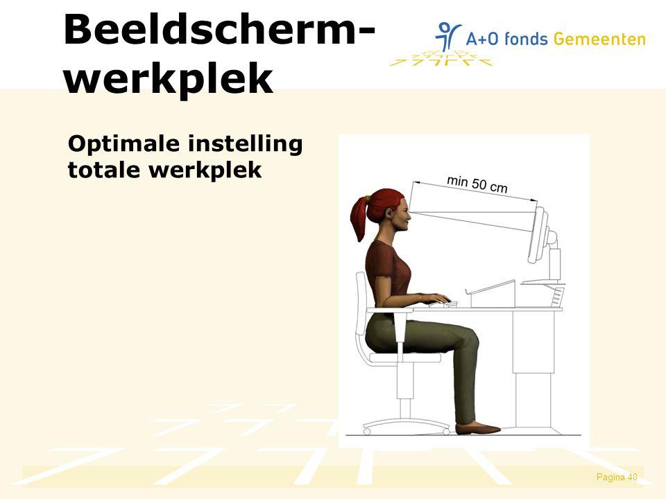 Beeldscherm- werkplek Optimale instelling totale werkplek