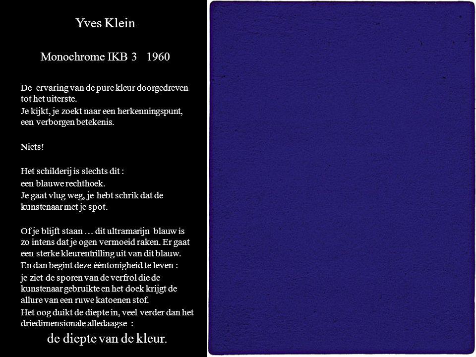 Yves Klein de diepte van de kleur. Monochrome IKB 3 1960