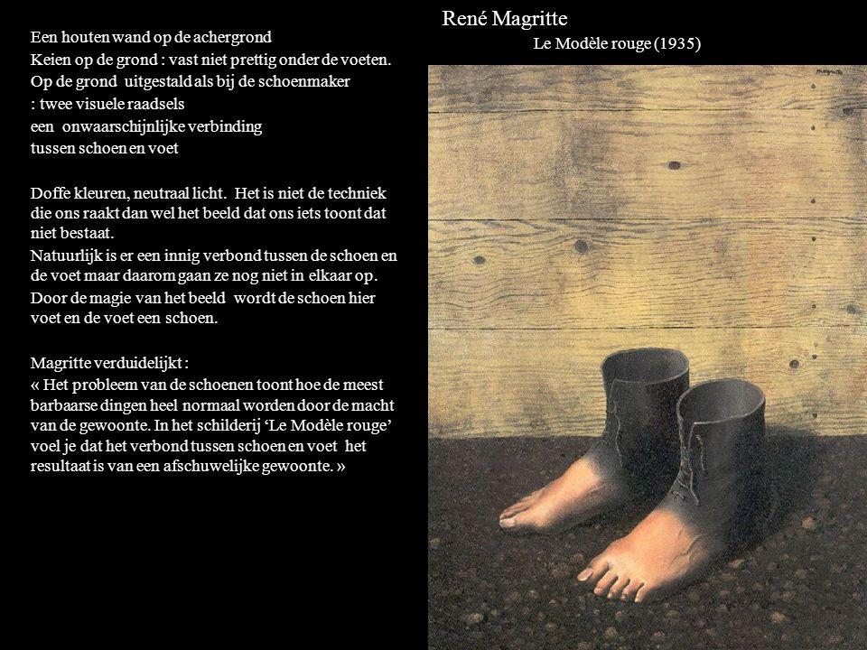 René Magritte Le Modèle rouge (1935) Een houten wand op de achergrond