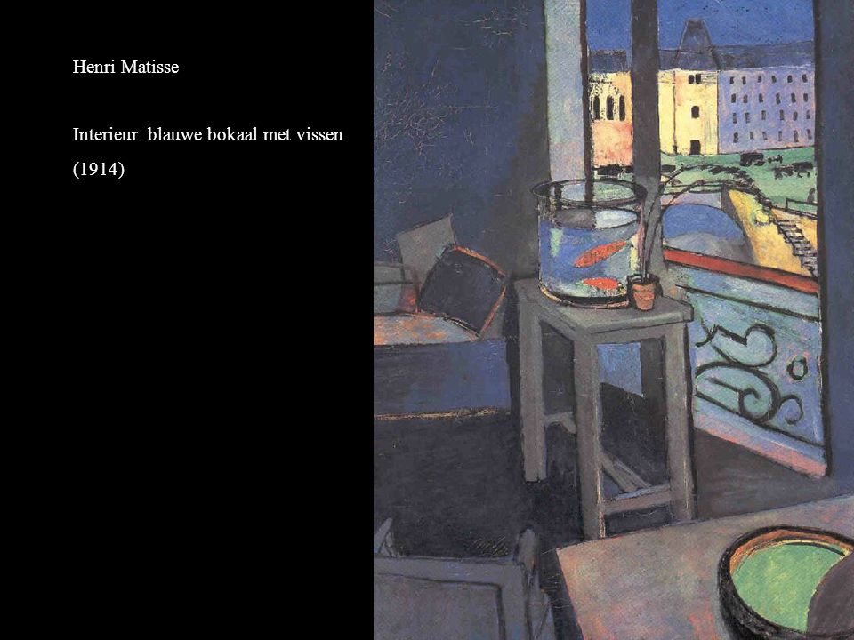 Henri Matisse Interieur blauwe bokaal met vissen (1914)