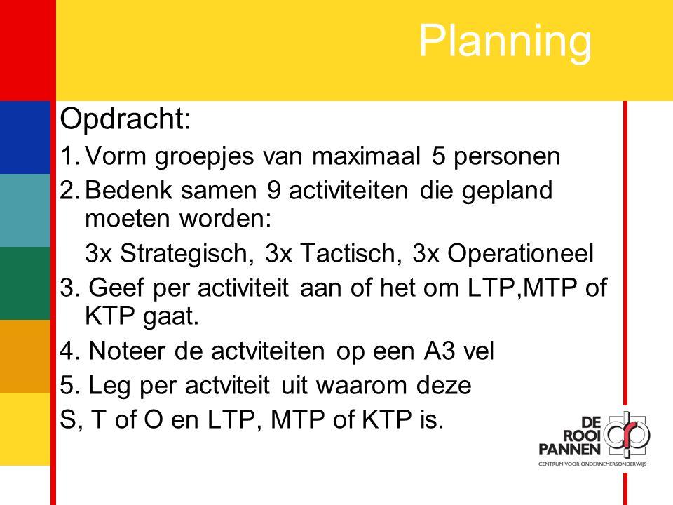 Planning Opdracht: Vorm groepjes van maximaal 5 personen