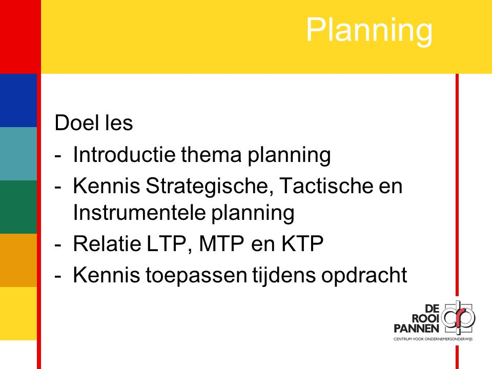 Planning Doel les Introductie thema planning