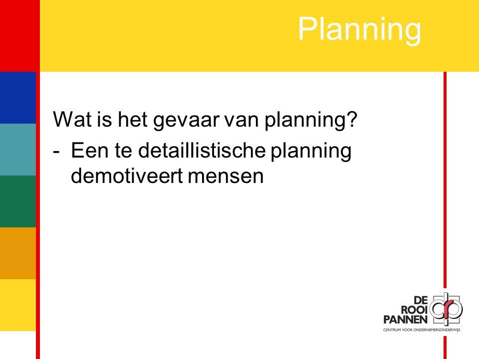 Planning Wat is het gevaar van planning