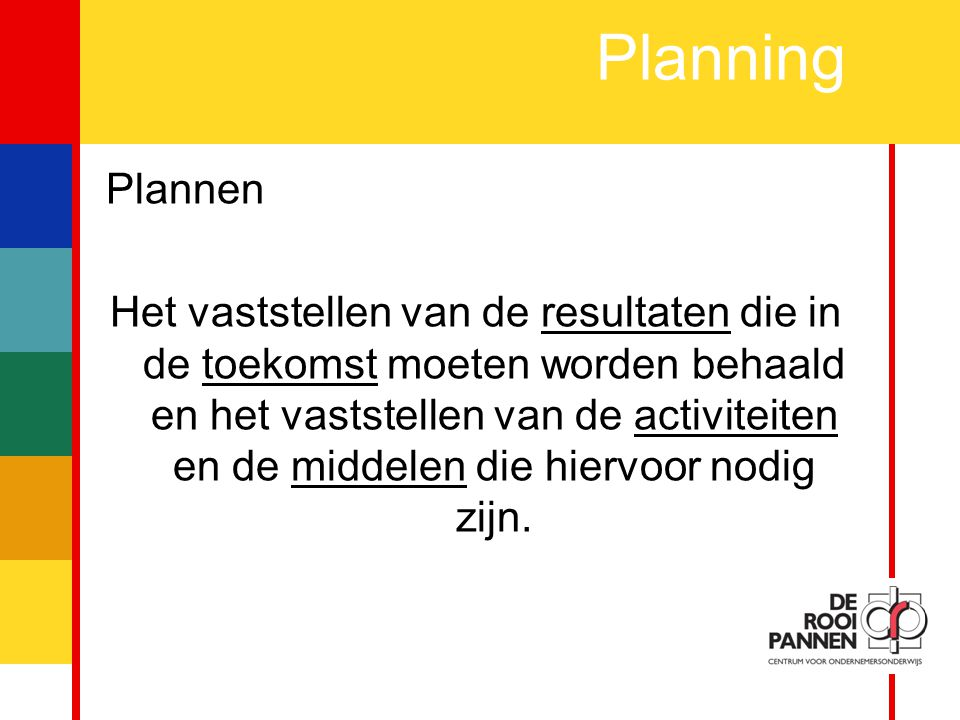 Planning Plannen.