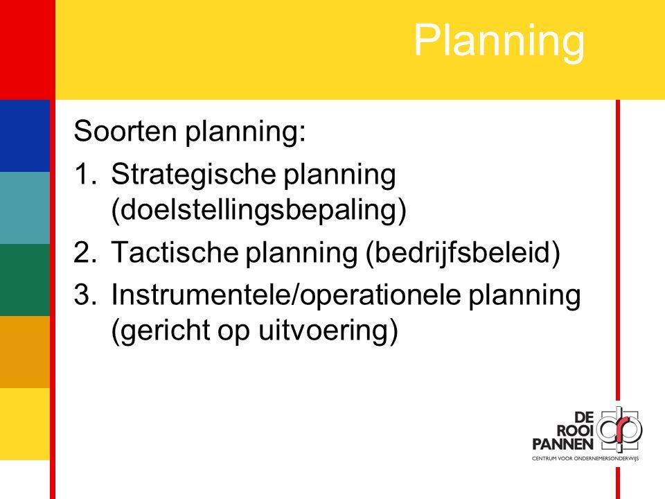 Planning Soorten planning: