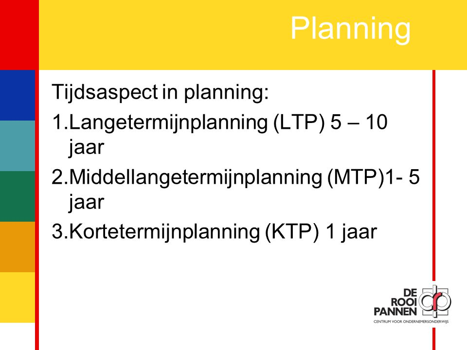 Planning Tijdsaspect in planning: