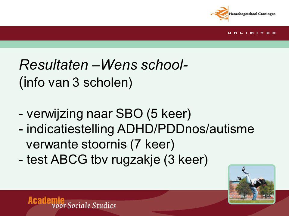 Resultaten –Wens school- (info van 3 scholen) - verwijzing naar SBO (5 keer) - indicatiestelling ADHD/PDDnos/autisme verwante stoornis (7 keer) - test ABCG tbv rugzakje (3 keer)