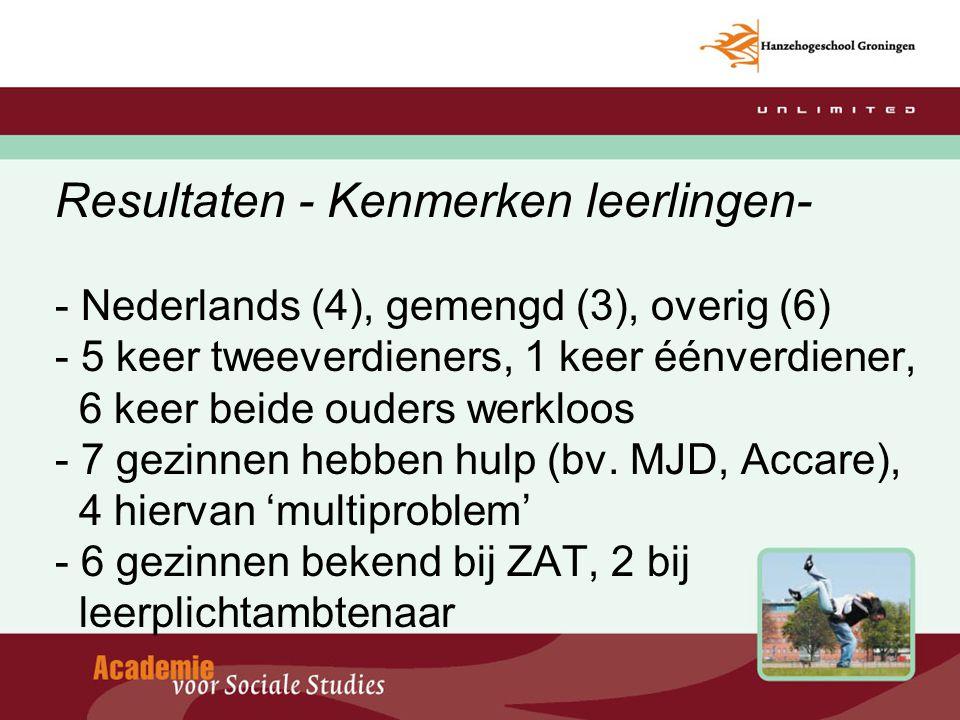 Resultaten - Kenmerken leerlingen- - Nederlands (4), gemengd (3), overig (6) - 5 keer tweeverdieners, 1 keer éénverdiener, 6 keer beide ouders werkloos - 7 gezinnen hebben hulp (bv.