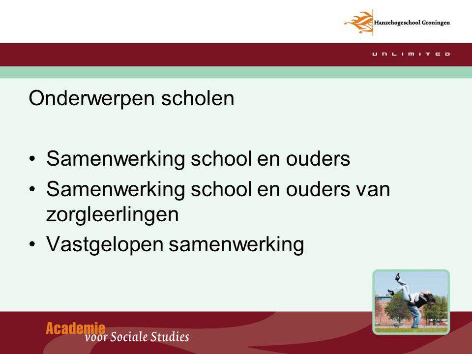 Onderwerpen scholen Samenwerking school en ouders. Samenwerking school en ouders van zorgleerlingen.