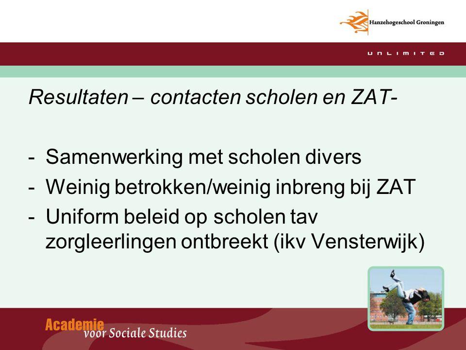 Resultaten – contacten scholen en ZAT-