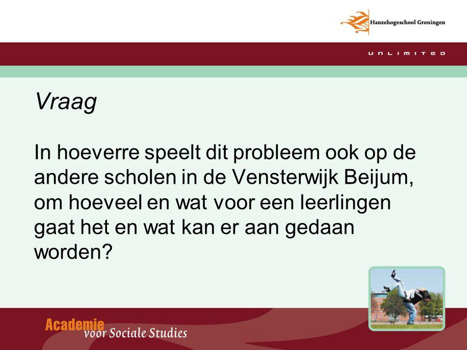 Vraag In hoeverre speelt dit probleem ook op de andere scholen in de Vensterwijk Beijum, om hoeveel en wat voor een leerlingen gaat het en wat kan er aan gedaan worden