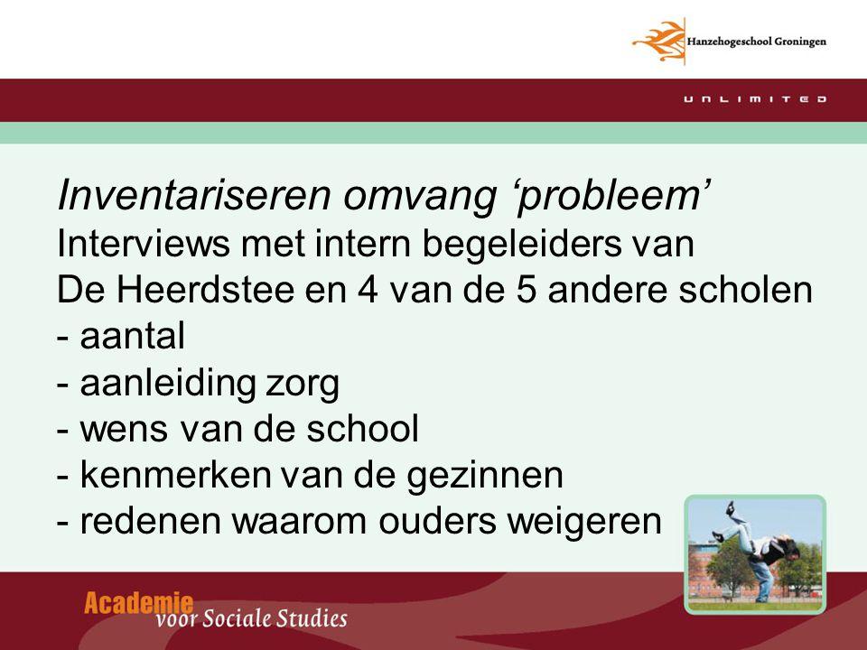 Inventariseren omvang 'probleem' Interviews met intern begeleiders van De Heerdstee en 4 van de 5 andere scholen - aantal - aanleiding zorg - wens van de school - kenmerken van de gezinnen - redenen waarom ouders weigeren