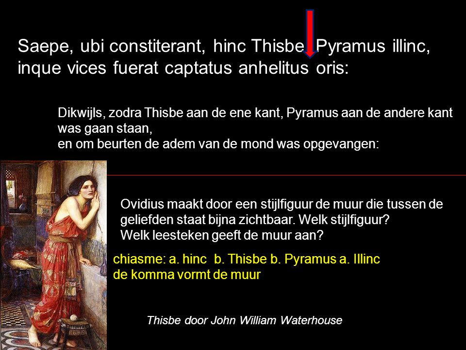 Saepe, ubi constiterant, hinc Thisbe, Pyramus illinc, inque vices fuerat captatus anhelitus oris: